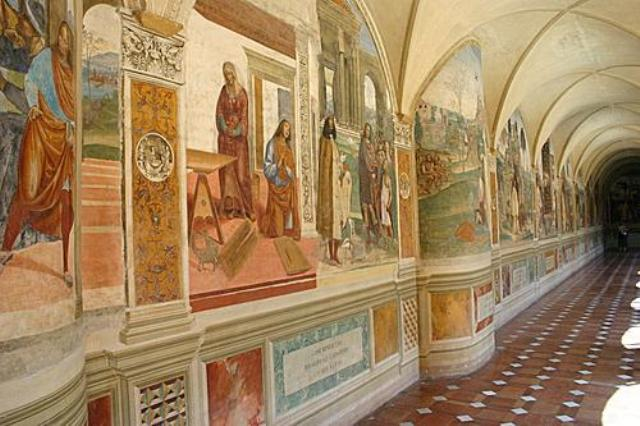 "The frescos ""Stories of San Benedict"" by Luca Signorelli and Antonio Bazzi aka il Sodoma"