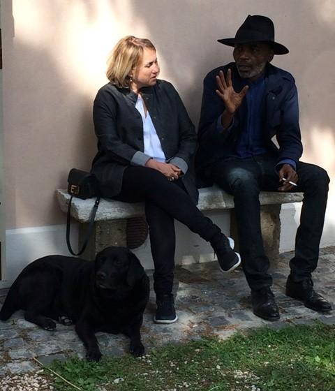 Silvia Venturini Fendi, Eric and Zen, the dog of Roberto D' Agostino, photo by N