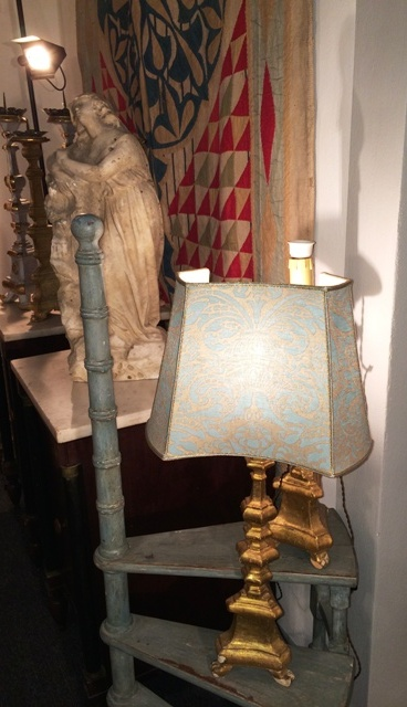 Lamp featuring Fortuny cloth, photo by N