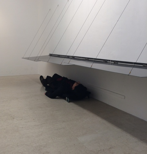 Me experiencing the exhibition path, photo by Alessandro Boccingher