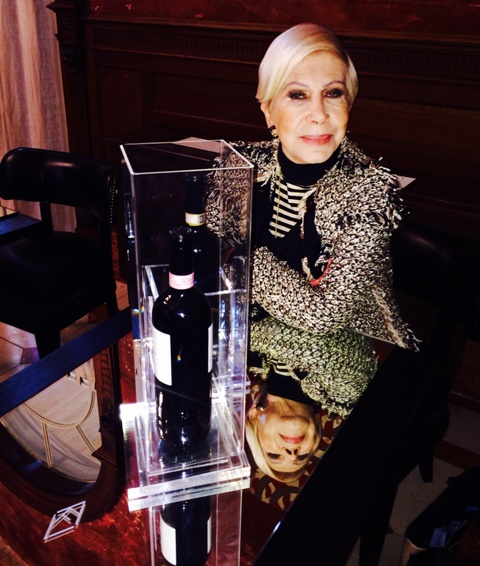 Anna Venturini Fendi along with the wines she selected, in Rome,  at the wine-bar of Villa Laetitia, photo by N