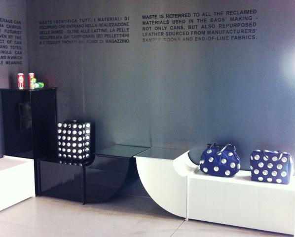 The installation by Maria Luisa Frisa and Carlo Alberto D' Emilio featuring Carmina Campus, photo by Elisabetta Facco