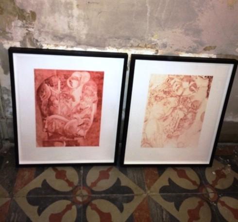 """The etchings  featuring in the group show """"L' avventura- die mit der liebe spielen"""", photo by N"""