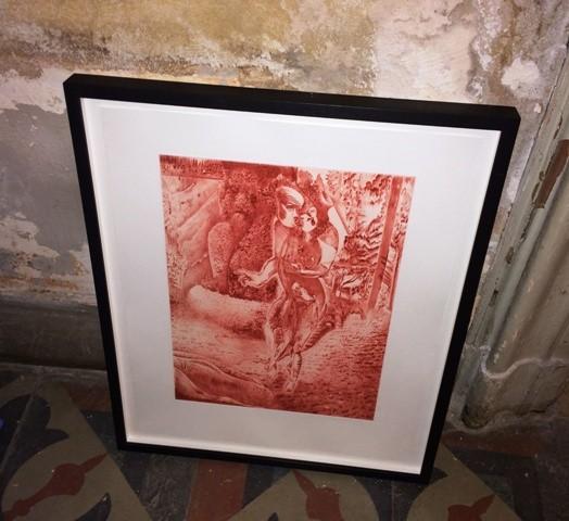 """The etching  featuring in the group show """"L' avventura- die mit der liebe spielen"""", photo by N"""