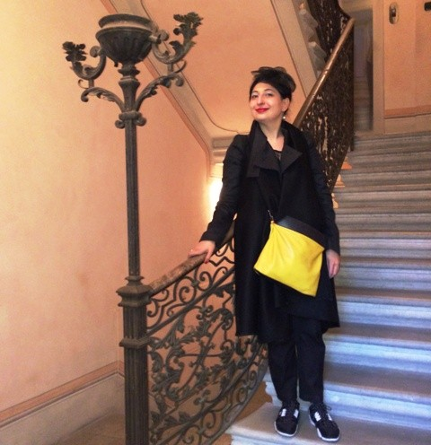 Me,myself and I ending my visit at the Palazzo Guaineri Delle Cossere, photo by Alessandro Boccingher