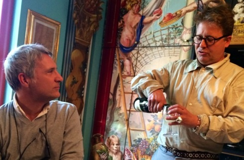 An afternoon Epicurean interlude at Stephan Hamel's house, featuring Enrico Quinto and Stephan, framed by the decorative work made by Raja Schwahn-Reichmann