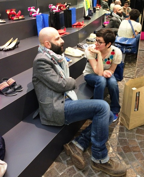 Antonio Gardoni talking with the owner of design store Rua Confettora, photo by N