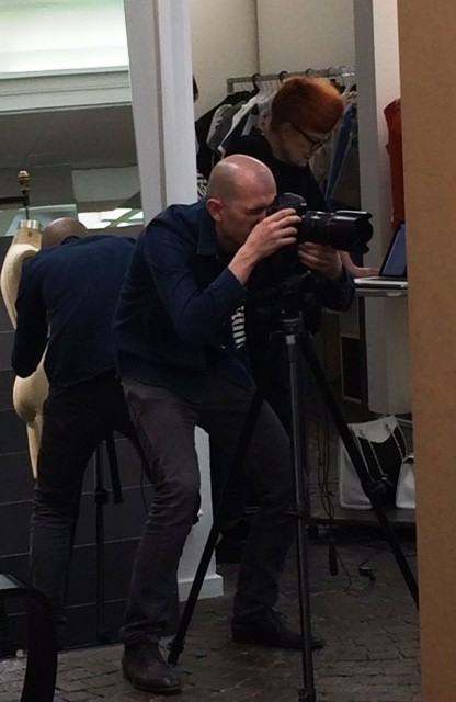 Erminardo Aliaj( aka Ermengardo) working and the one and only Roberta looks at the shoots he made, photo by N