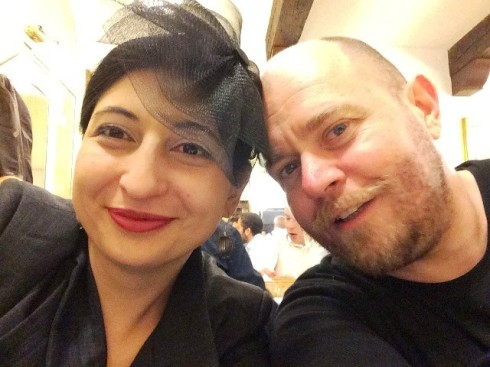 Alessandro Boccingher and me at the Osteria Bianchi, photo by N