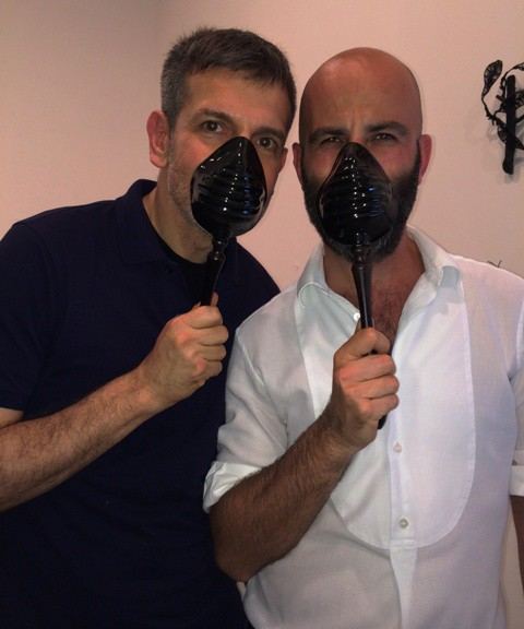Sergio Zambon and Antonio Gardoni experiencing Bogue the mask, photo by N