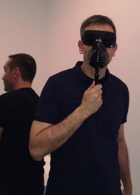 Sergio Zambon experiencing Bogue the mask along with Sylvio Giardina, photo by N