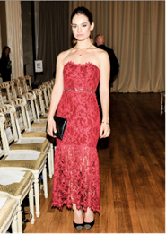 Lily James in Marchesa at the fashion show