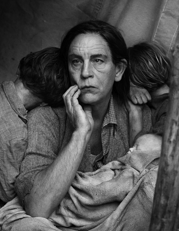 Sandro Miller, Dorothea Lange / Migrant Mother, Nipomo, California (1936), 2014, photo courtesy of Catherine Edelman Gallery