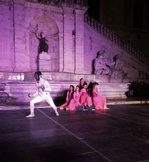 A moment of performance by the Italian fencing team along the a Ballet company, photo by N