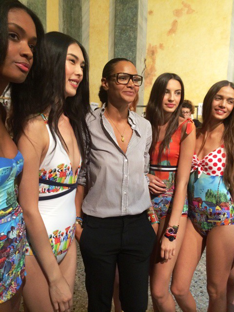 Stella Jean along with the models at the backstage, photo by N