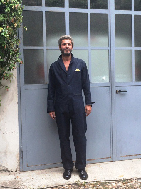 Luca Cipelletti wearing the coverall by Gentucca Bini, photo by N