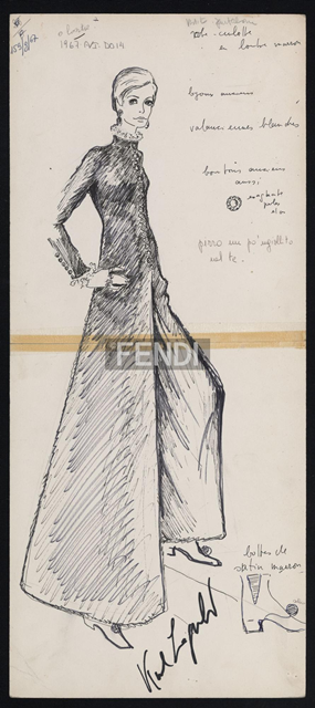 Original sketch by Karl Lagerfeld, Fall/Winter 1967-1968, photo   © Pierluigi Praturlon/Reporters Associati & Archivi