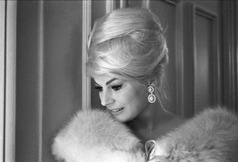 "Anita Ekberg, wearing Bulgari jewelry, still image from the movie ""Call me Bwana"" by Douglas Gordon, 1962"