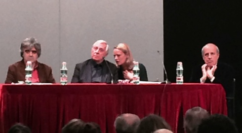Peter Greenaway during the talk along with Alberto Crespi, Claudio Strinati and the translator, photo by N