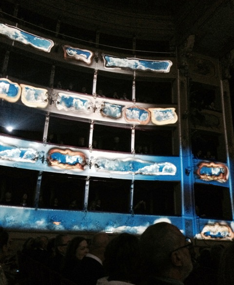 The Correggio The Bonifacio Asioli Public Theatre becoming part of multimedia installation, photo by N