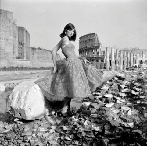 Ivy Nicholson wearing a dress by Gattinoni at the Imperial Fora, photo Federico Garolla, Rome, 1954