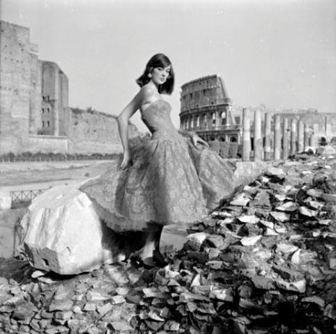 Ivy Nicholson wearing a dress by Gattinoni at the Imperial Fora, photo Federico Garolla, Rome, 1954