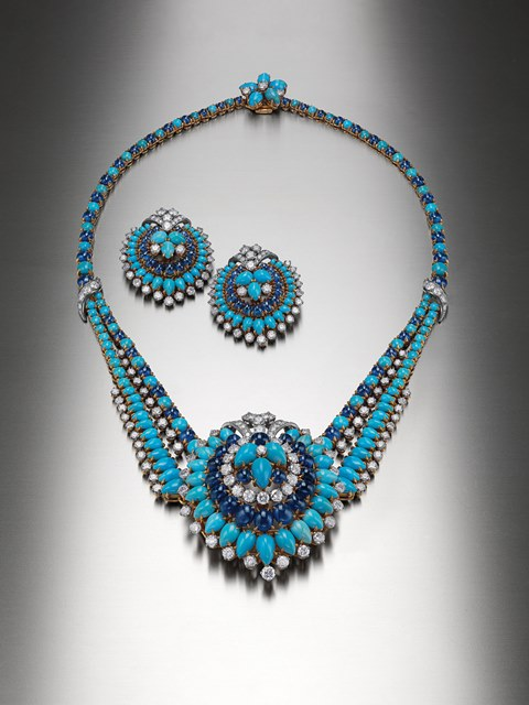 Bulgari, necklace, earrings, gold and platinum with turquoises, sapphires, diamonds, 1961-1962