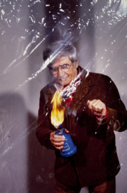 """Aurelio Amendola shooting Alberto Burri who makes """"Cellotex""""( Città di Castello, 1976)"""