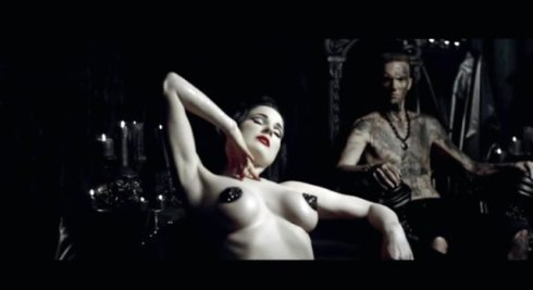 "Dita von Teese and Ninja,  still image from the music video of ""Ugly boy"" by Die Antwoord, directed by Ninja"