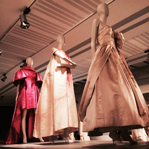 "Evening dresses by Roberto Capucci(""Azalea rosa""dress, Roberto Capucci, first show,  Florence Palazzo Pitti White Room, 1961,Archive of Roberto Capucci Foundation), Valentino(evening dress in hand-painted sillk satin, Spring/Summer 1968, courtesy Valentino S.P.A.) and Emilio Schuberth(evening gown in silk satin with silk embroidery and glass beads,1951, courtesy Gabriella Lo Faro Private collection), photo by N"