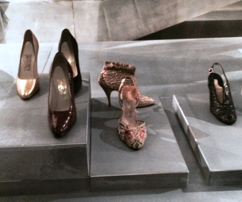 "Salvatore Ferragamo( décolleté shoe made in glided kid, made for Marylin Monroe for the movie by Joshua Logan ""Bus stop"", 1967,  décolleté shoe in satin with rhinestones appliques and stiletto heel,owned by Marylin Monroe, 1958-1959, décolleté show made of crocodile leather created for Marilyn Monroe, 1958-1959, ""Damigella"" ankle boot in stretch brocade-effect silk fabric, created for Sophia Loren, 1957, ""Madonna"", closed-toe sandal with vamp bearing flowers embroidered in silk, glass beads and rhinestones, created for Sophia Loren, 1955, ""Ranina"" sandal with upper in Tavernelle lace and sequin appliqués, lining in transparent vinilite, flared  Louis XV heel, made for Anna Magnani, 1955, Courtesy Salvatore Ferragamo Museum), photo by N"