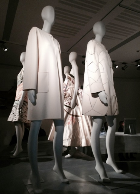 """Mila Schön,  coat in plain-weave double wool with intarsia inspired by Lucio Fontana's cuts, Spring/Summer 1969, courtesy Giorgio Schön) and Roberto Capucci, """"Omaggio a Burri"""", georgette coat with applied wool elements, inspired by the artist's works, 1969, courtesy Historical Archive of Roberto Capucci Foundation), photo by N"""
