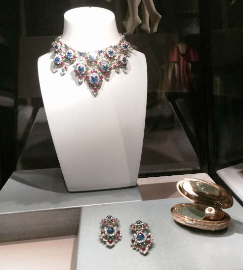 """Bulgari ( gold necklace with emeralds, rubies, sapphires and diamonds, 1967,  gold earrings with emeralds, rubies, sapphires and diamonds, 1967, """"Melone"""" gold vanity case with diamonds, 1960, Bulgari Heritage Collection), photo by N"""