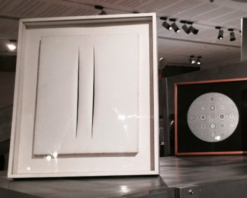 "Lucio Fontana  ""Concetto Spaziale - Attese (bianco e due tagli) -1968, private collection, Rome,- and Alberto Biasi (1964-1965, National Gallery of Modern Art), photo by N"
