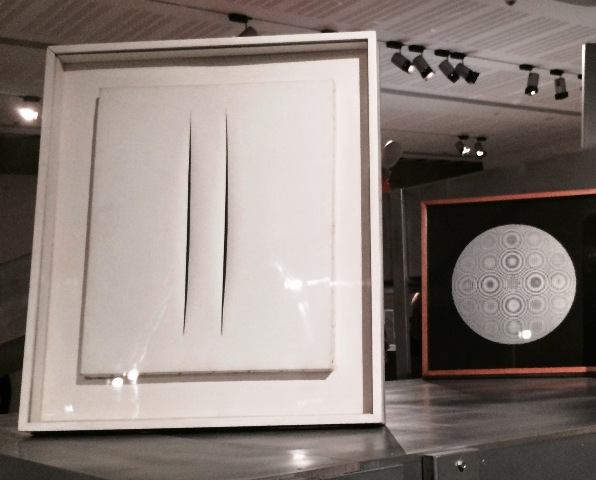 """Lucio Fontana  """"Concetto Spaziale - Attese (bianco e due tagli) -1968, private collection, Rome,- and Alberto Biasi (1964-1965, National Gallery of Modern Art), photo by N"""