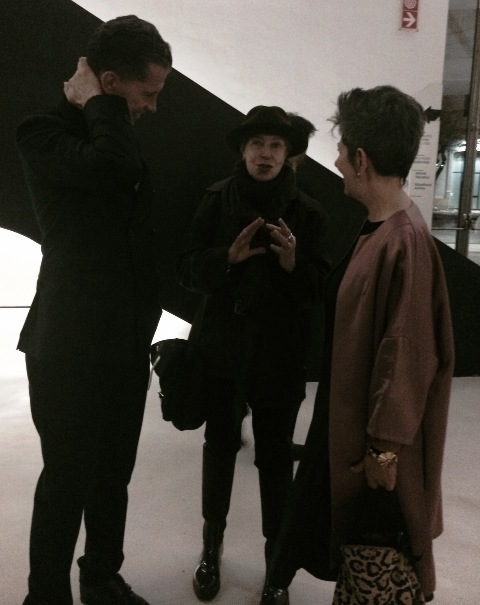 Stefano Tonchi and Maria Luisa Frisa talking with a friend, photo by N