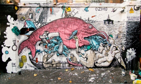 "OZMO,  ""Big Fish Eats Small Fish"", made in the area of Shoreditch, London, 2011"