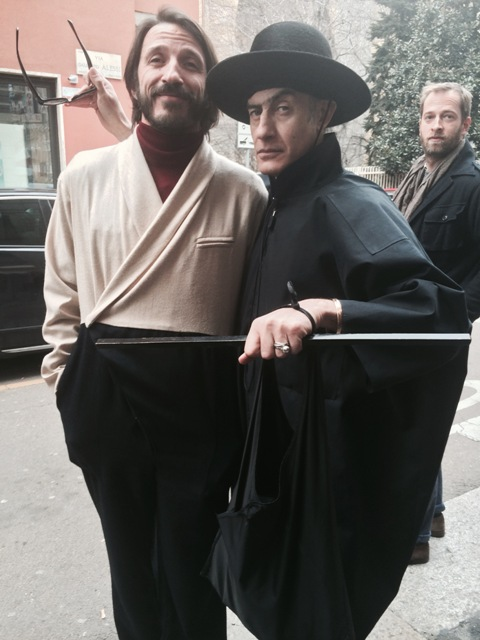 The artist Pino Pipoli along with a friend wearing Gentucca Bini Fall/Winter 2015-2016, photo by N