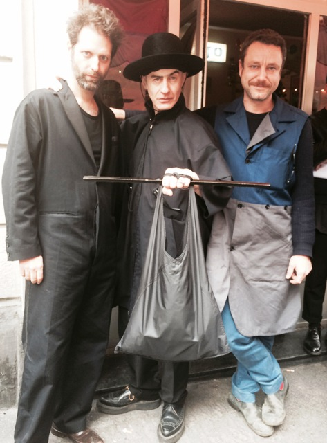 The artist Pino Pipoli in a Mandrakesque pose along with friends wearing Gentucca Bini Fall/Winter 2015-2016, photo by N