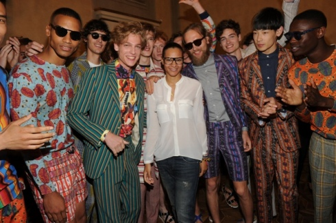 Stella Jean along with the models at the backstage of fashion show,  photo by Max Montingelli