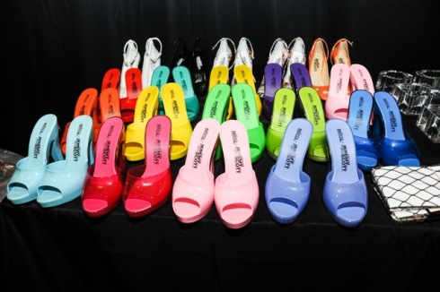 Melissa & Jeremy Scott shoes at the backstage of Jeremy Scott fashion show