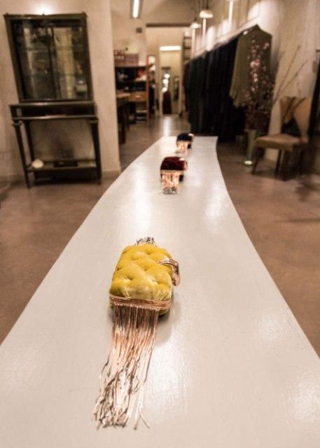 Benedetta Bruzziches at the atelier of Cristina Bomba, photo by Allucinazione