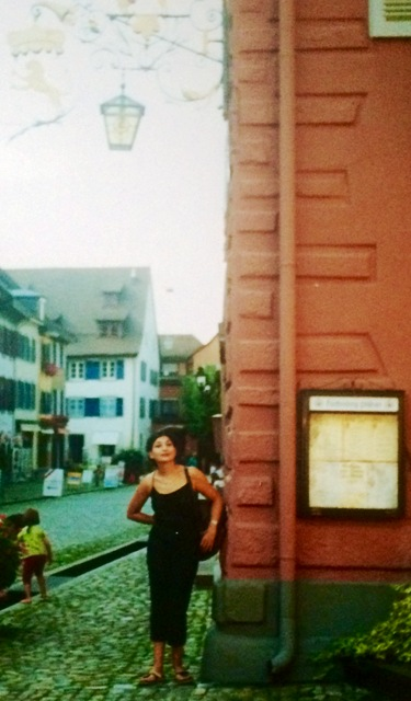 A memory from over a decades ago, me, myself and I in Staufen (the town of Frederick II), at the roadhouse where the legend tells Faust sold his soul to Mephistopheles, photo by Diana Illing