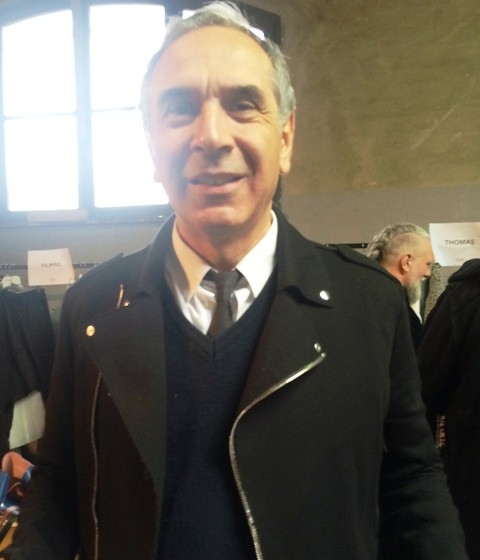 Carlo Capasa at the backstage of fashion show, photo by N