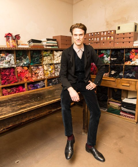 Michele Am Russo, the son of Cristina Bomba at their atelier, photo by Allucinazione
