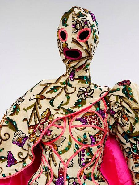 """Costume for a female performer designed by Leigh Bowery and made by Mr Pearl for 1987 dance performance, """"Because We Must"""" by Michael Clark Dance Company (Victoria & Albert Museum Collections)"""