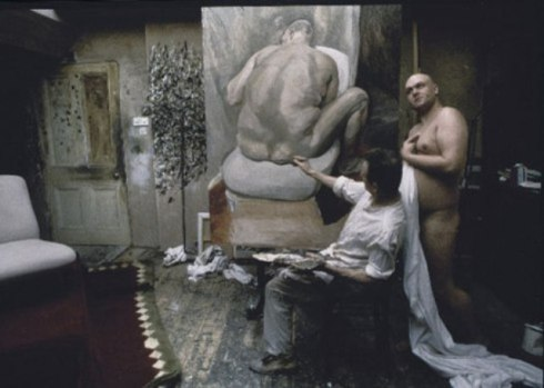 Leigh Bowery and Lucien Freud working on his portrait
