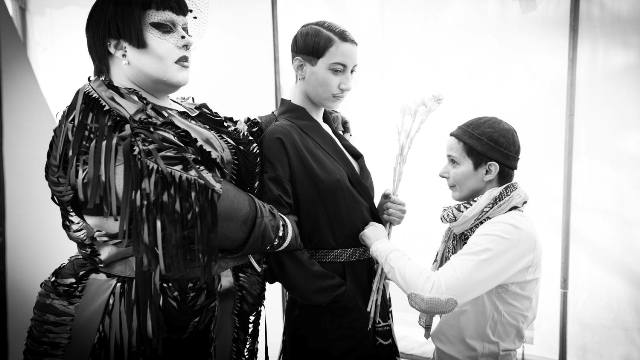 Backstage photo featuring Naco Paris and Candy Hagedorn, photo by Pierrick Bequet Recadr, courtesy of Naco Paris
