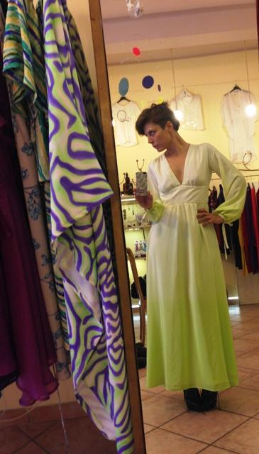 Livia Risi wearing a dress she made, photo courtesy of Livia Risi