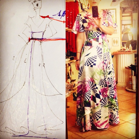A sketch of the dress Livia Risi wears, photo courtesy of Livia Risi